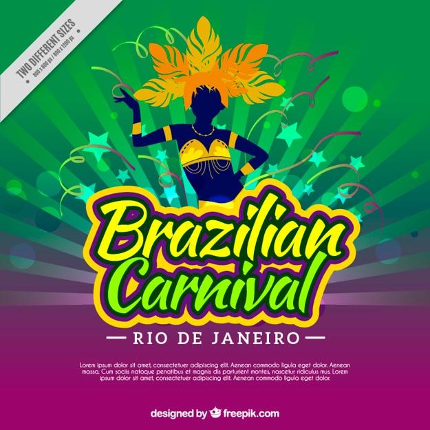 Fond de carnaval brésilien avec le danseur silhouette Vecteur gratuit