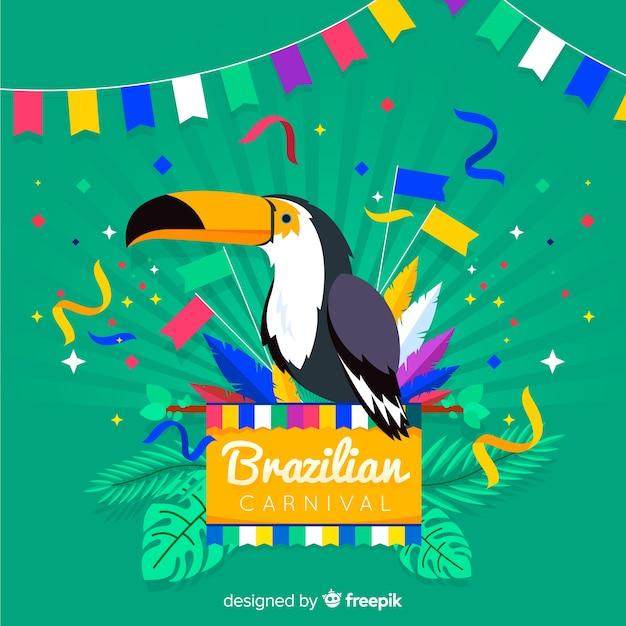 Fond de carnaval brésilien tucan dessiné à la main Vecteur gratuit