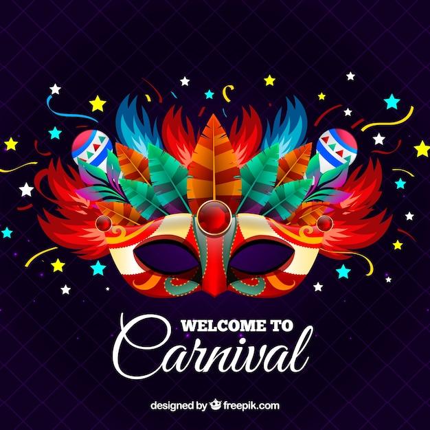 Fond de carnaval créatif avec masque Vecteur gratuit