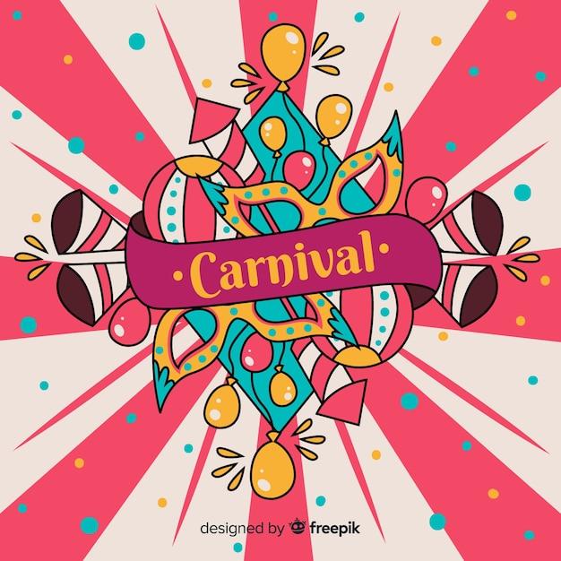 Fond de carnaval dessiné à la main Vecteur gratuit