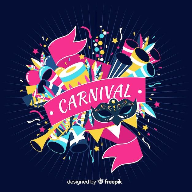 Fond de carnaval d'explosion d'éléments Vecteur gratuit