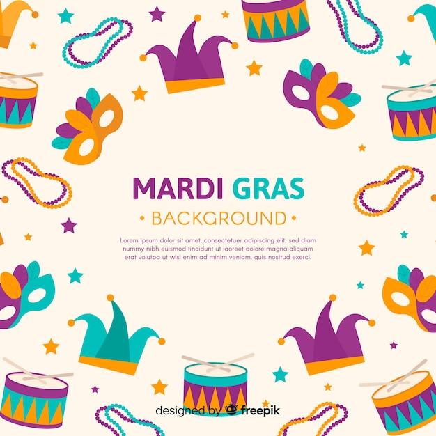 Fond de carnaval de mardi gras Vecteur gratuit