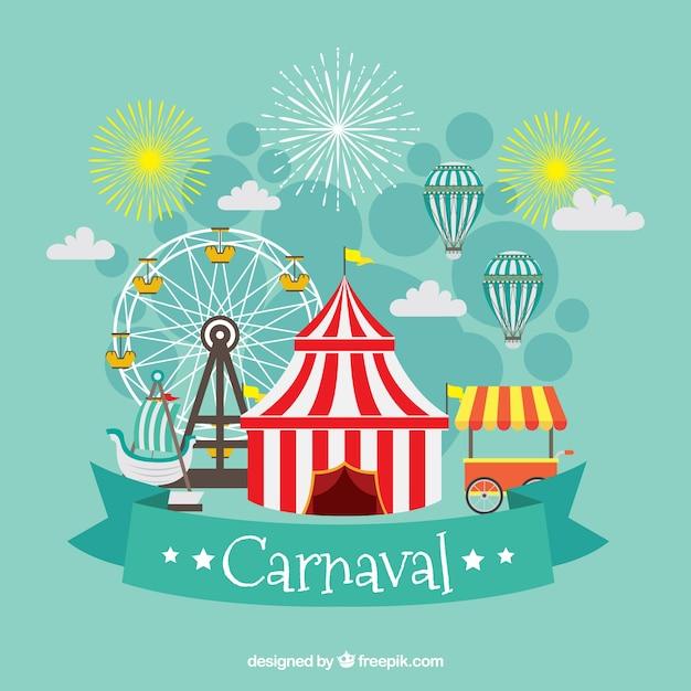 Fond de carnaval plat Vecteur gratuit