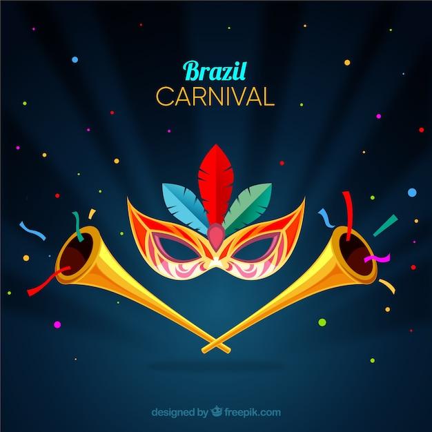 Fond de carnaval avec trompettes Vecteur gratuit