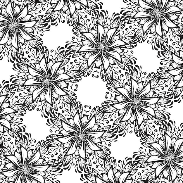 Un fond carré noir et blanc avec des fleurs, texture ornementale Vecteur Premium