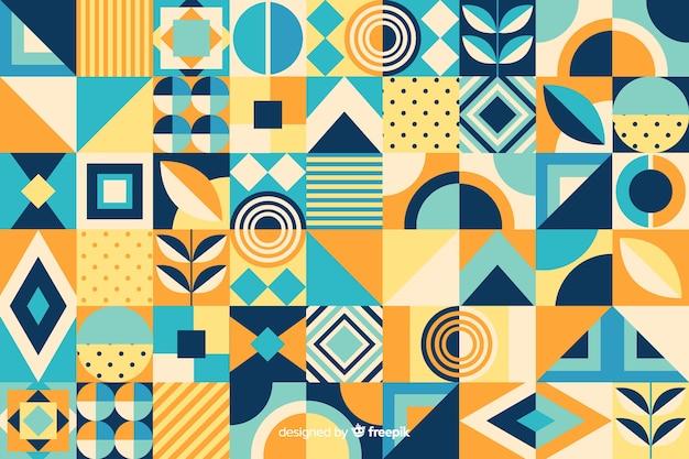 Fond de carreaux de mosaïque géométrique plat Vecteur gratuit
