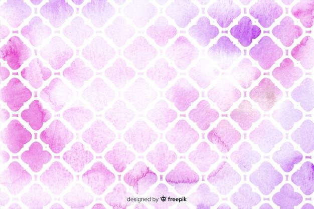 Fond de carreaux de mosaïque rose aquarelle Vecteur gratuit
