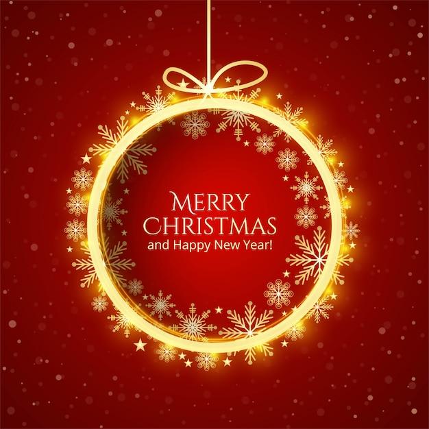 Fond De Carte Beau Joyeux Noël Boule Brillante Festival Vecteur gratuit