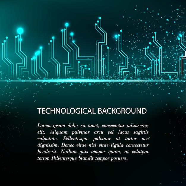 Fond De Carte De Circuit Imprimé Avec électronique Bleue Et Modèle De Texte D'exemple Vecteur gratuit