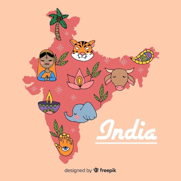 Fond de carte inde dessinés à la main Vecteur gratuit