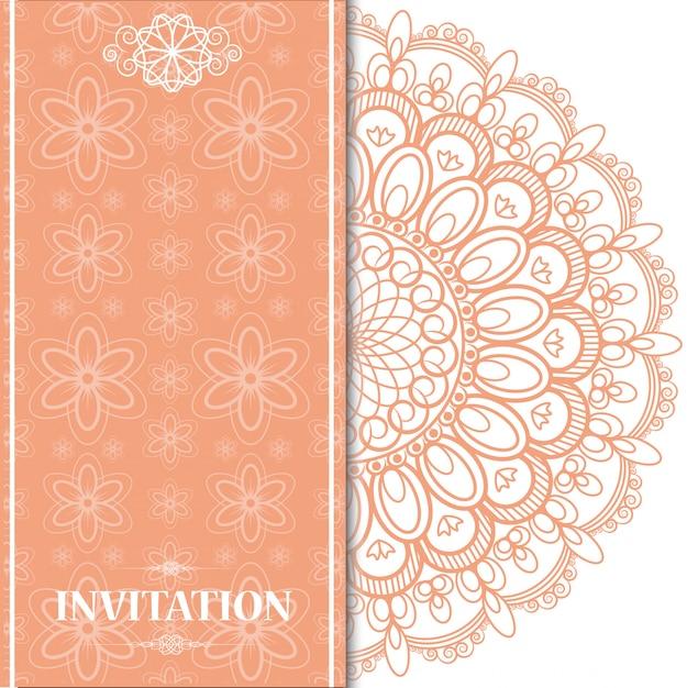 Fond de carte de mariage orange islamique Vecteur Premium