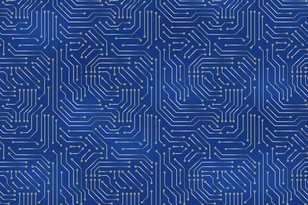 Fond de carte mère d'ordinateur avec des éléments électroniques de carte de circuit imprimé. Vecteur Premium