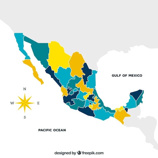 Fond de carte plat mexique Vecteur gratuit