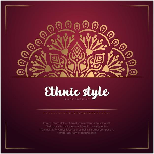 Fond De Carte De Style Ethnique Avec Mandala Et Modèle De Texte, Couleur Rouge Et Or Vecteur gratuit