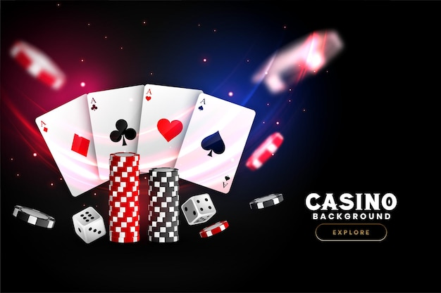 Fond De Casino Réaliste Avec Des Jetons De Cartes Et Des Dés Vecteur gratuit