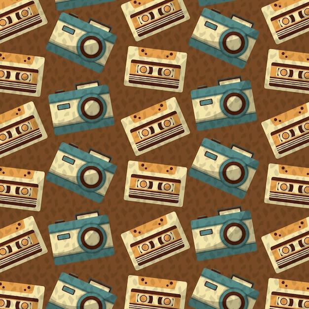 Fond de cassette et de la musique vintage rétro Vecteur Premium