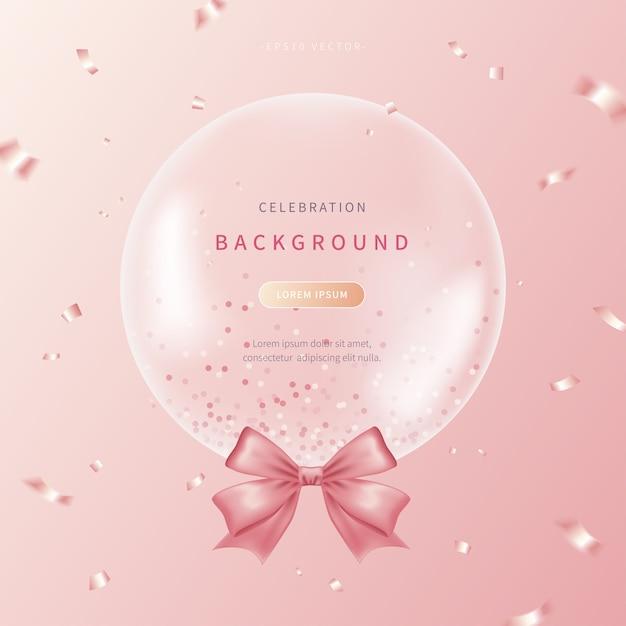 Fond De Célébration Avec Des Ballons Réalistes Aux Couleurs Douces Vecteur Premium
