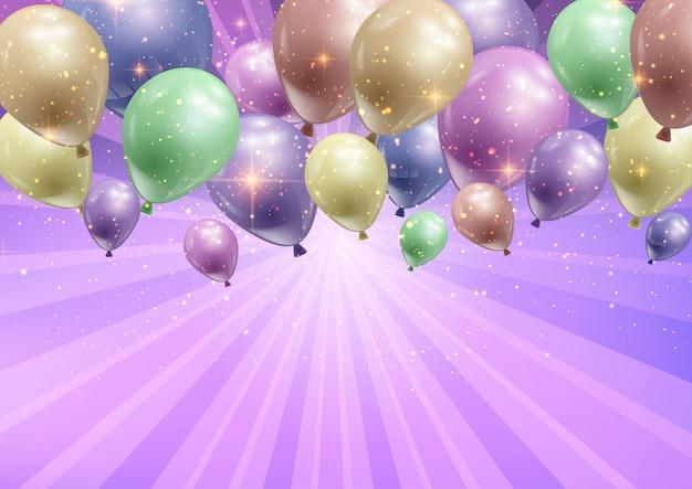 Fond de célébration avec des ballons Vecteur gratuit