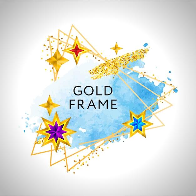 Fond De Célébration De Cadre De Noël Avec Des étoiles Dorées Aquarelle Bleues Et Place Pour Le Texte. Vecteur Premium
