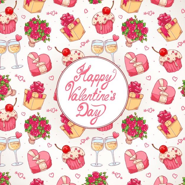 Fond De Célébration Coloré Mignon Pour La Saint-valentin Avec Un Bouquet De Roses, Des Verres à Champagne Et Des Cadeaux Vecteur Premium