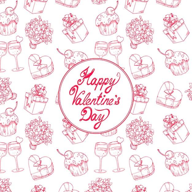 Fond De Célébration Mignon Pour La Saint-valentin Avec Un Bouquet De Roses, Des Verres à Champagne Et Des Cadeaux Vecteur Premium
