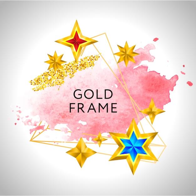 Fond De Célébration De Vecteur De Cadre Abstrait Avec Des étoiles Dorées Aquarelle Rose Et Place Pour Le Texte. Vecteur Premium