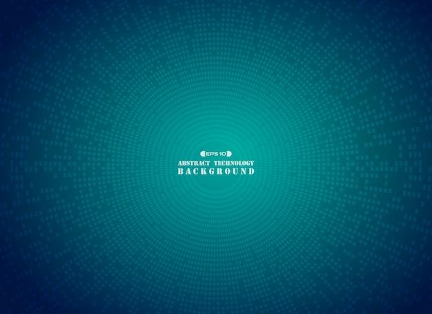 Fond de cercle modèle futuriste grille bleue. Vecteur Premium