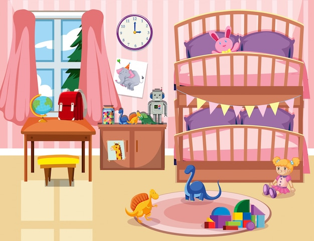 Un fond de chambre d'enfant Vecteur Premium
