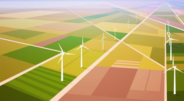 Fond De Champ De La Station D'énergie Renouvelable D'énergie éolienne Vecteur Premium
