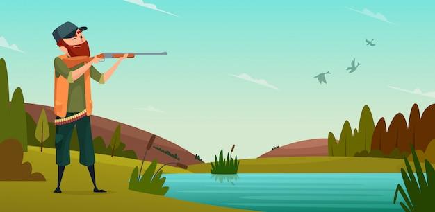 Fond de chasse au canard. dessin animé illustration chasseur à la chasse Vecteur Premium