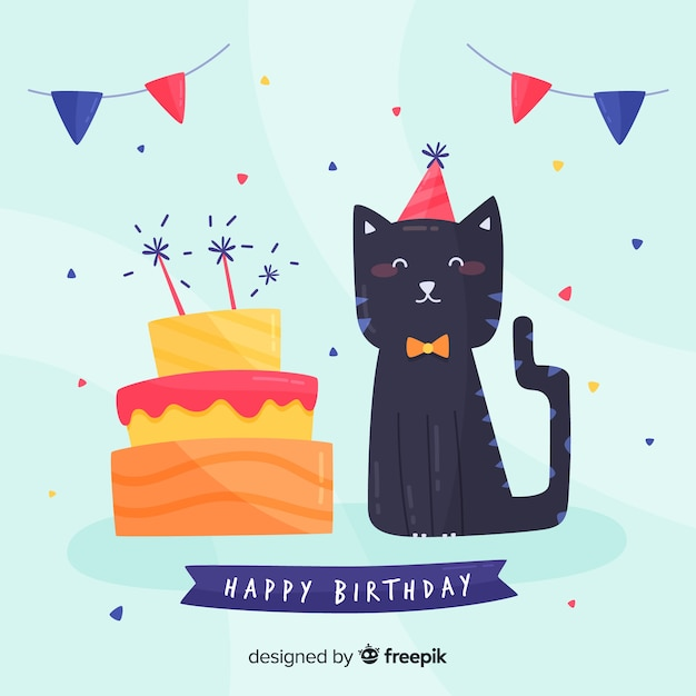 Fond de chat anniversaire Vecteur gratuit