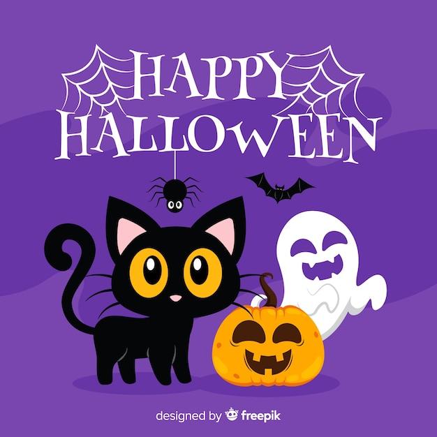 Fond de chat halloween au design plat Vecteur gratuit