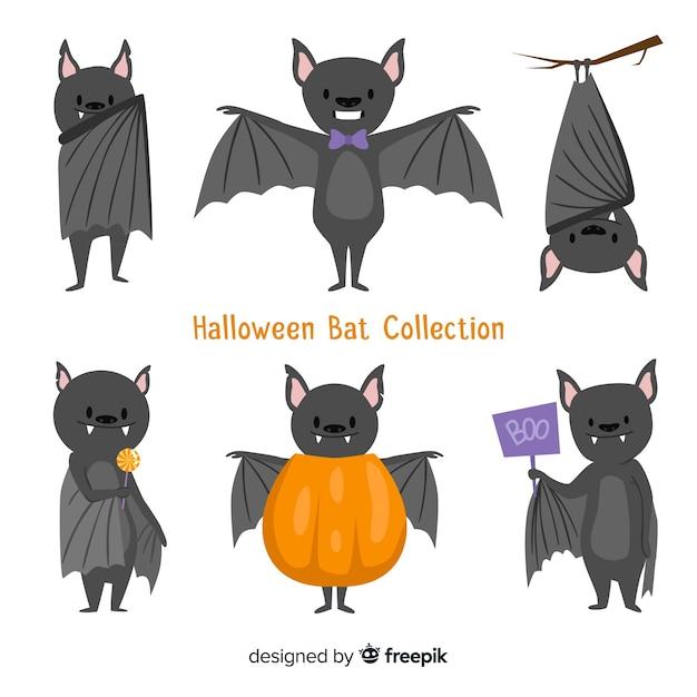 Fond de chauve-souris halloween style dessiné à la main Vecteur gratuit