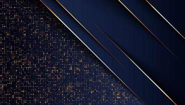 Fond De Chevauchement Bleu Foncé Avec Une Ligne De Lumière Dorée Vecteur Premium