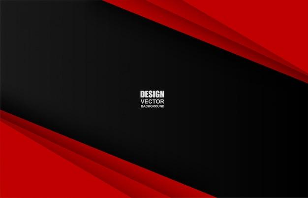 Fond de chevauchement géométrique rouge et noir Vecteur Premium
