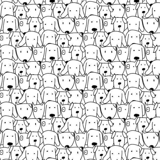 Fond de chien mignon dessinés à la main. Vecteur Premium