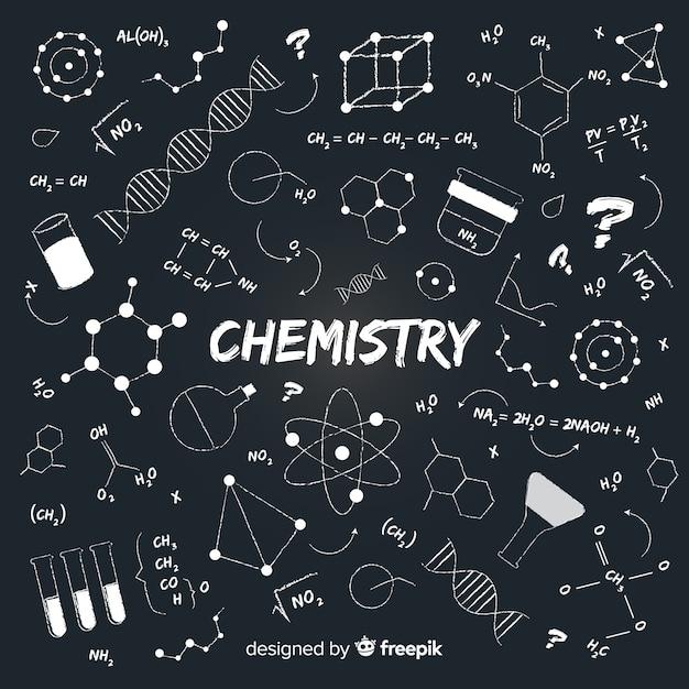 Fond de chimie dessiné à la main sur le tableau noir Vecteur gratuit