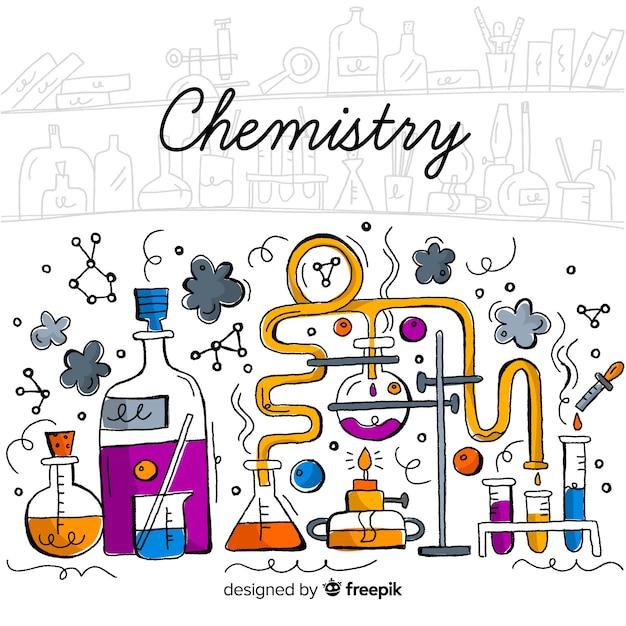Fond de la chimie tirée par la main Vecteur gratuit