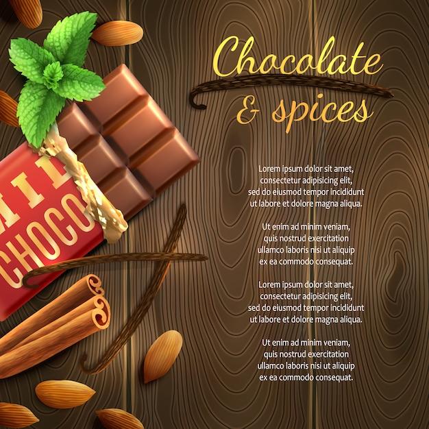 Fond de chocolat et d'épices Vecteur gratuit