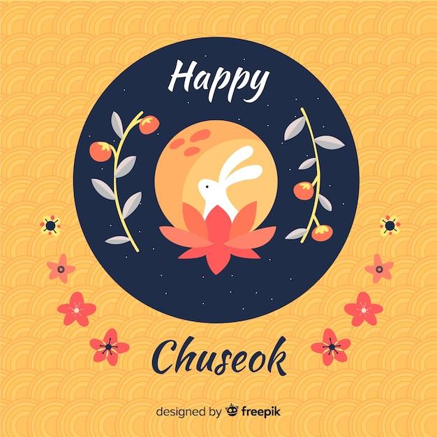 Fond de chuseok dessiné belle main Vecteur gratuit