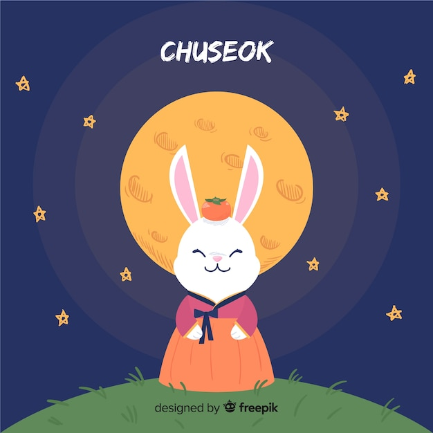 Fond de chuseok heureux dessiné à la main Vecteur gratuit