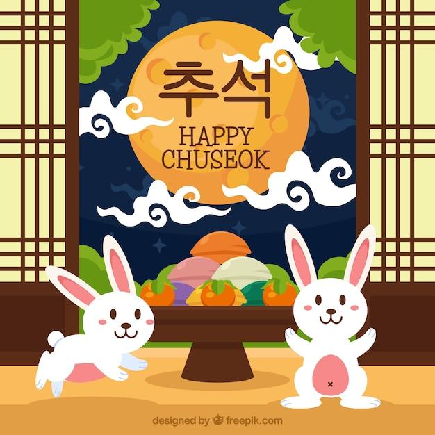 Fond de chuseok heureux avec des lapins Vecteur gratuit