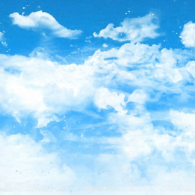 Fond de ciel bleu avec des nuages blancs moelleux Vecteur gratuit