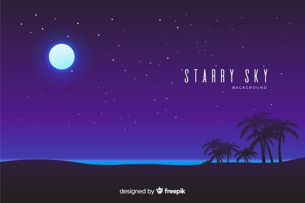 Fond de ciel étoilé de nuit Vecteur gratuit