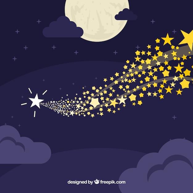 Fond de ciel avec des étoiles Vecteur gratuit