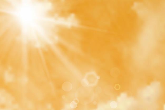 Fond de ciel avec nuages et soleil Vecteur Premium