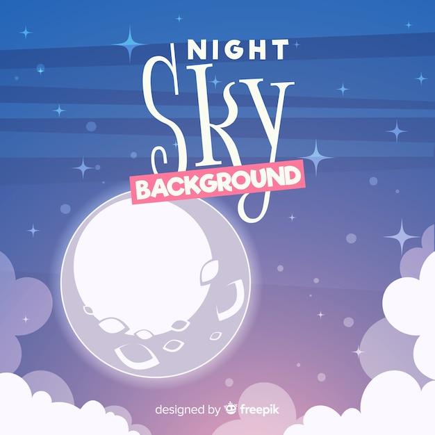 Fond de ciel nuit de dessin animé Vecteur gratuit
