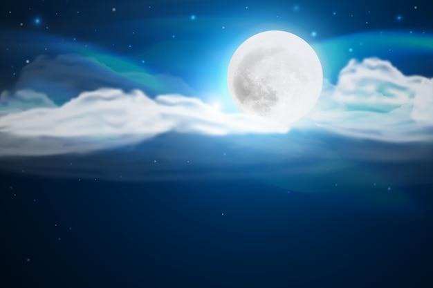 Fond De Ciel Réaliste Pleine Lune Vecteur gratuit
