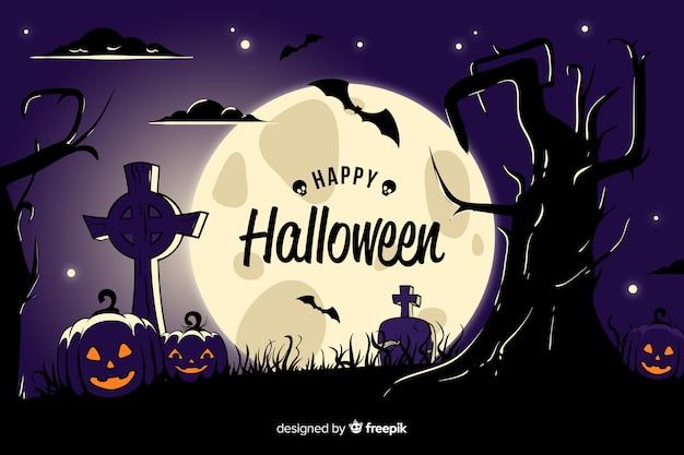 Fond de cimetière vue halloween Vecteur gratuit