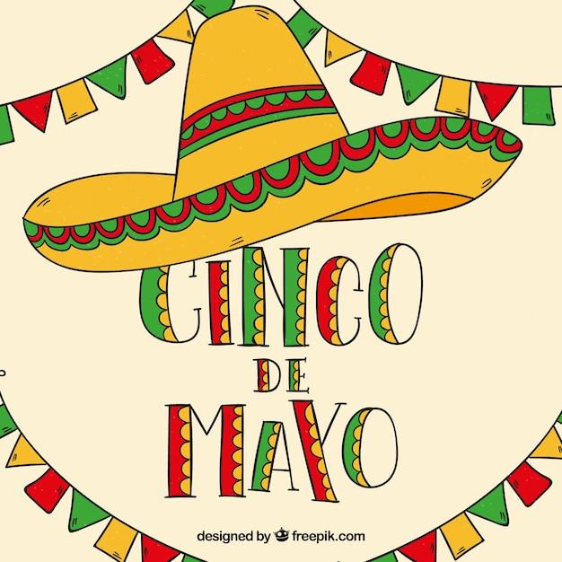Fond De Cinco De Mayo Avec Chapeau Mexicain Et Fanions Vecteur gratuit